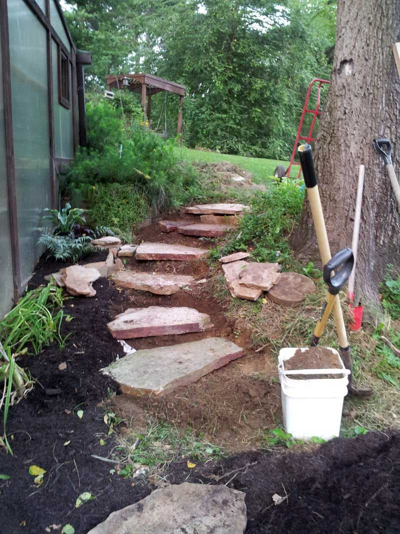 Best Carving Rustic Stone Steps Out Of Hillside With Flagstone 400 x 300