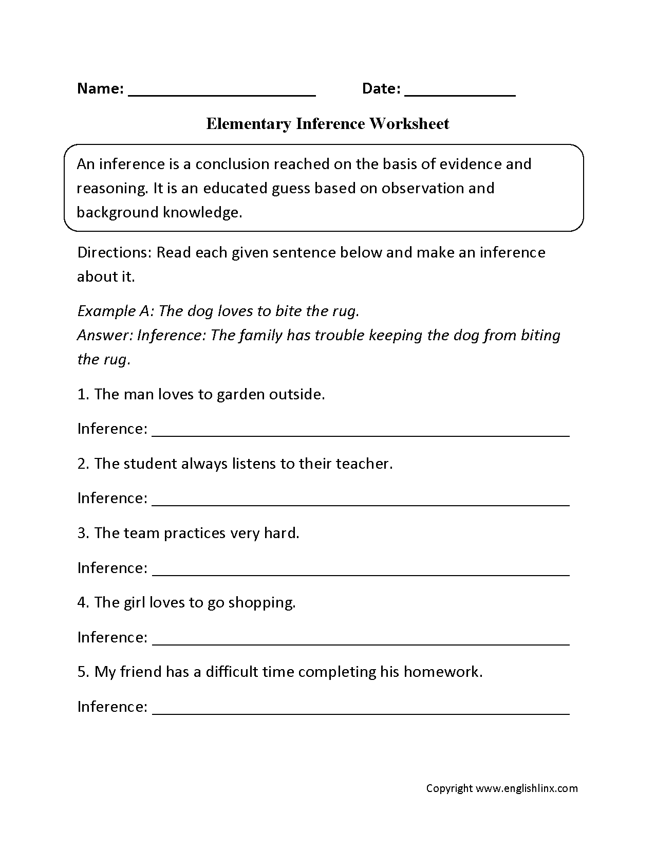 Elementary Inference Worksheets   Inferencing [ 1650 x 1275 Pixel ]