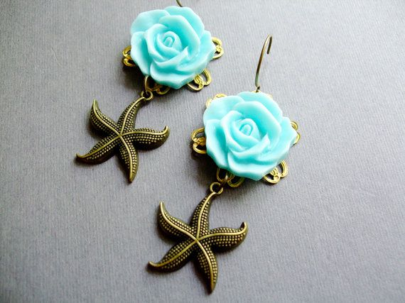 Earrings,Starfish Earrings, Aqua Flower,Summer Jewelry,Brass Starfish,Nautical Jewelry,Bridesmaid Jewelry