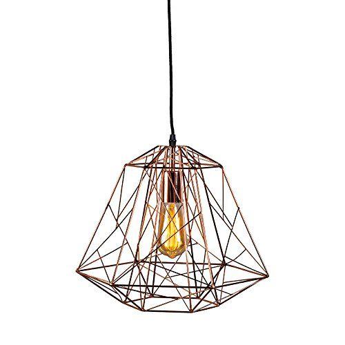 Qazqa design industriel moderne salle a manger suspension lustre luminaire lumiere éclairage framework cuivre metal autres compatible pour led