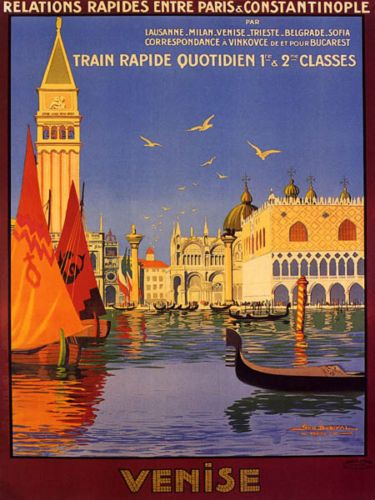 Venice Venise by Train Italy Vintage Art Travel Advertisement Poster Print
