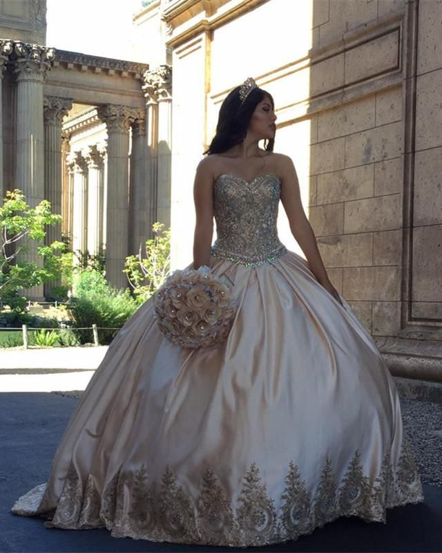Elegant Embroidery Embellishment Ball Gown Traditional: Gold Lace Embroidery Sweetheart Satin Ball Gowns