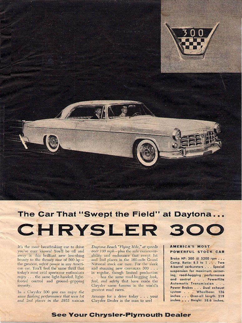 the original chrysler 300 from 1955 chrysler chrysler 300 chrysler cars pinterest