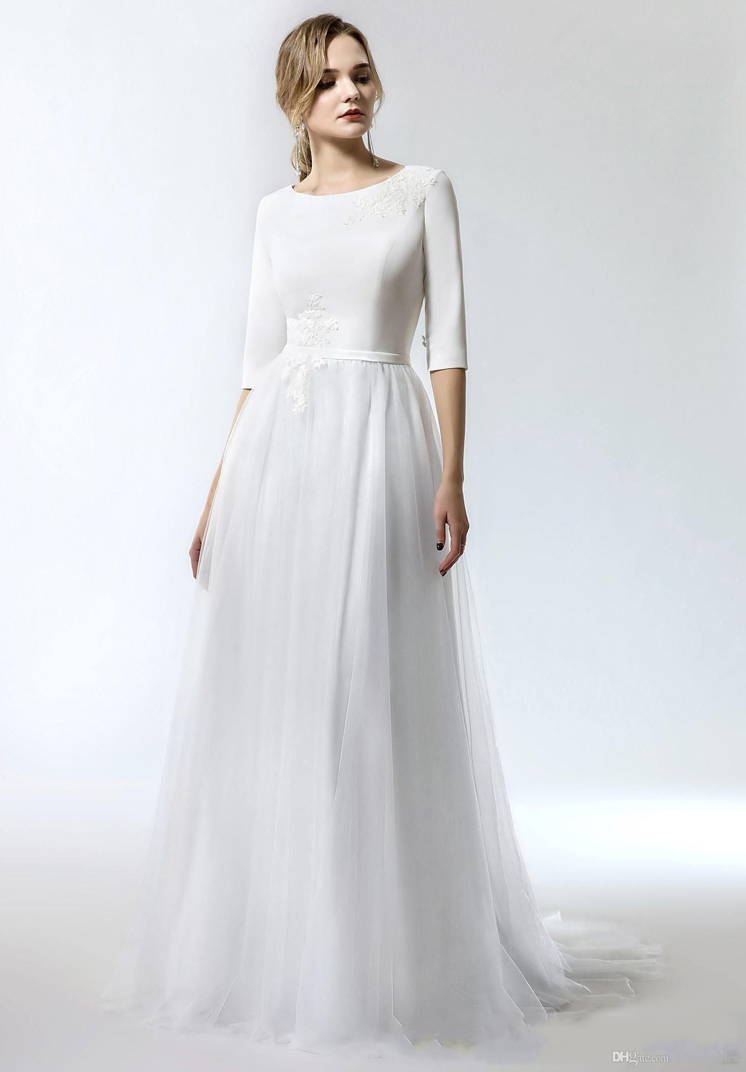 2019 New Simple Aline Long Modest Wedding Dress With 1/2