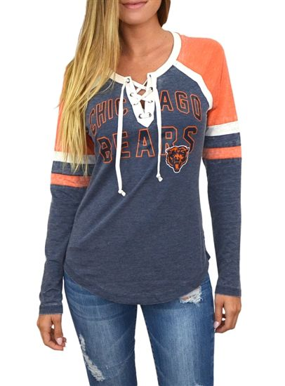 f95d27cc3 Chicago Bears Womens Laceup Long Sleeve Top