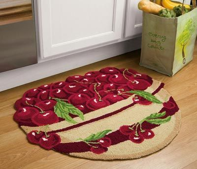 Perfect Cherry Decor Hand Hooked Kitchen Rug...cute