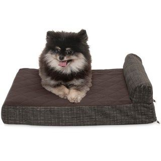 Furhaven Quilted Fleece Print Suede Chaise Lounge Cooling Gel