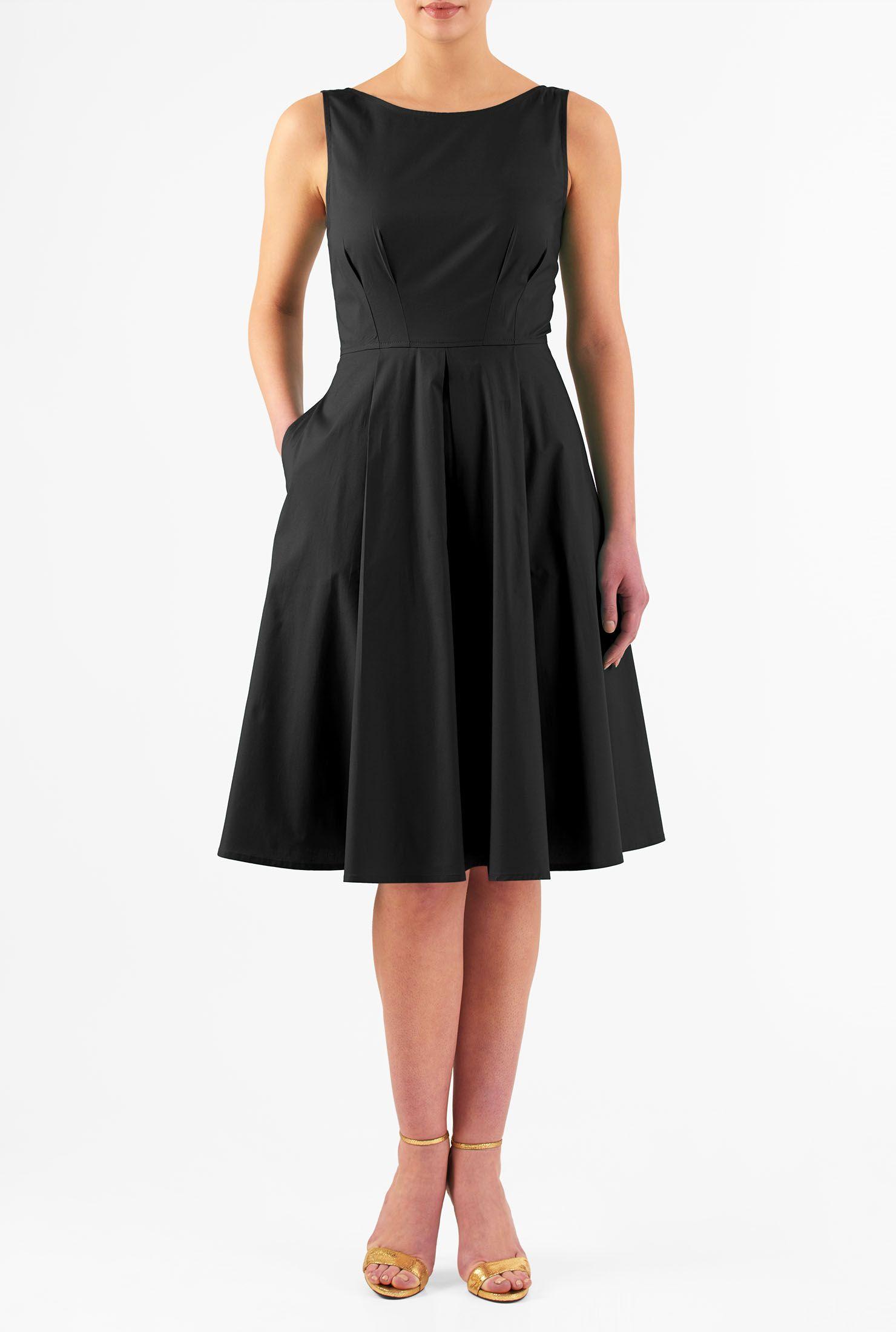 Aurora dress style cl back zip below knee length black