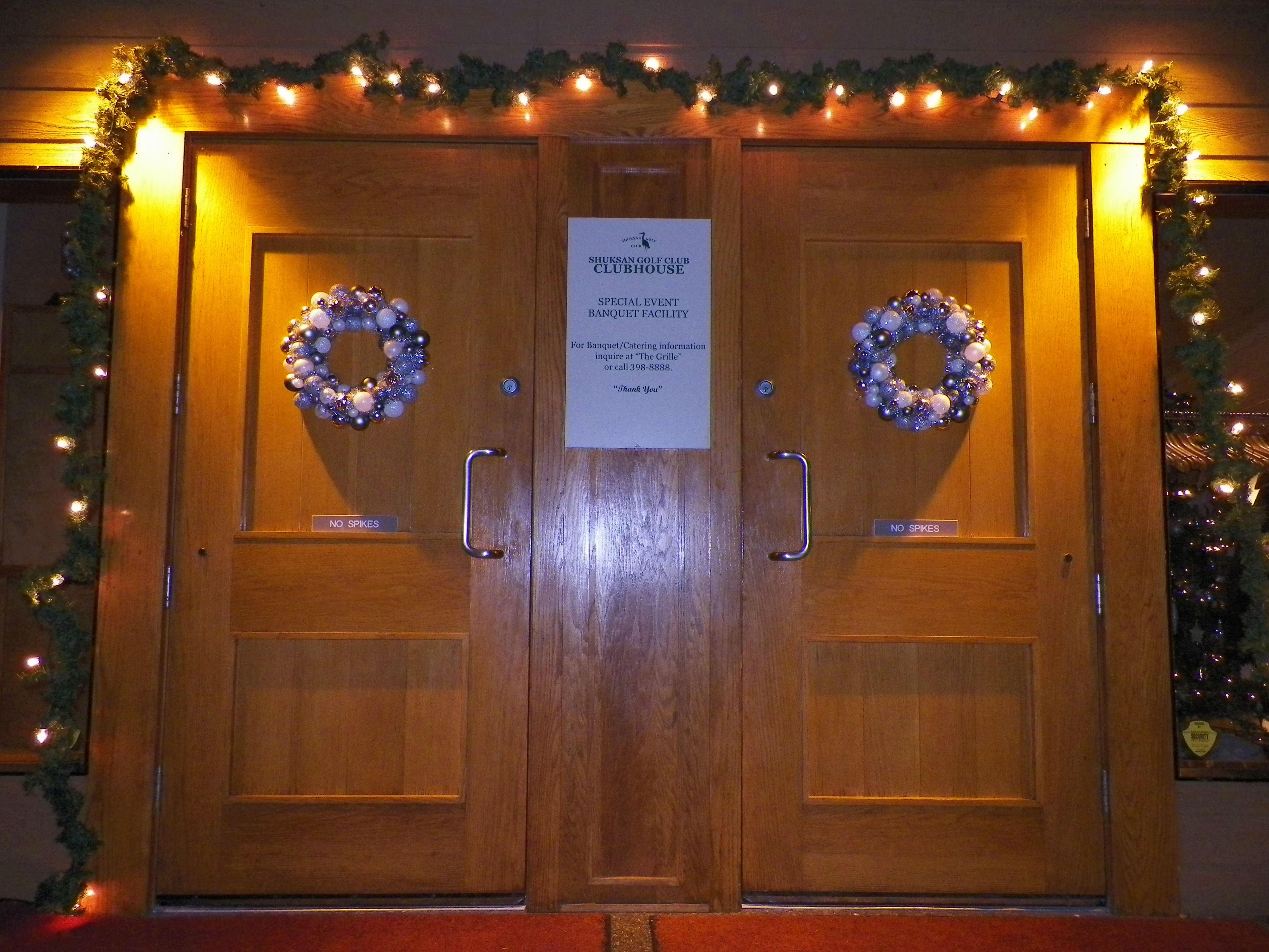 Front doors of the Clubhouse. We decorated with pale blues and silvers this year 2013