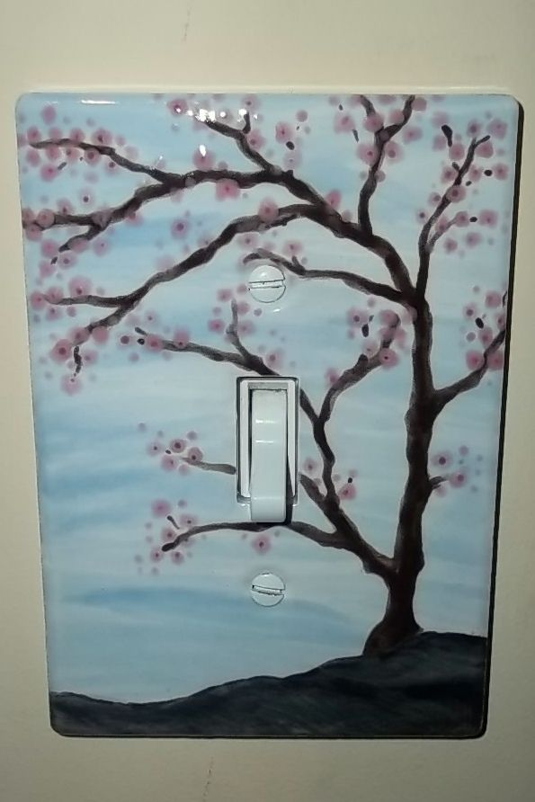 Hand Painted Light Switch Plate Pottery With A Cherry Blossom Tree