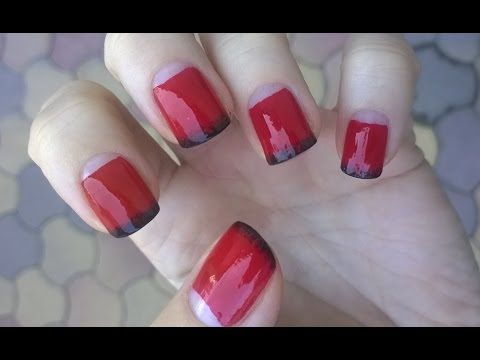Half Moon Nails Tutorial Red Black Ombre Nail Art Trends Fall Winter