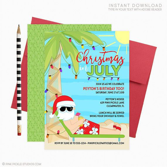 beach christmas invitation beach santa invitation beach christmas