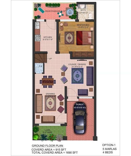 5 marla house floor plan