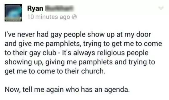 The only people in this country with an agenda are the religious