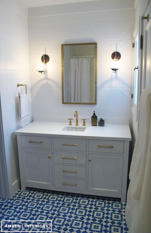 Amber Interiors Bathrooms Rivet Medicine Cabinet Kohler Purist Moderne Brushed Gold Faucet
