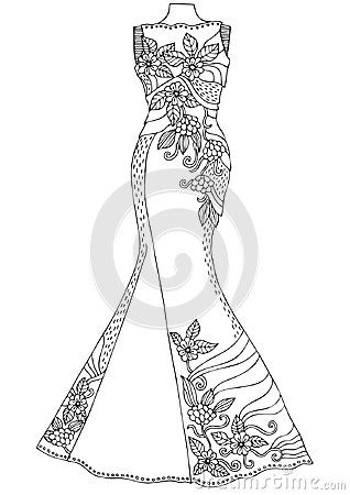 Drawbykeiti Women S Lace Dress Hand Drawn Illustration For Coloring Page Poster Or Invitation Antistress Coloring Coloring Pages Anti Stress Coloring Book