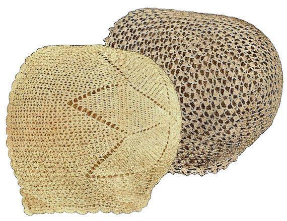 Vintage Crochet Baby Bonnet Patterns - 1920\'s 2 styles - Lace Mesh ...