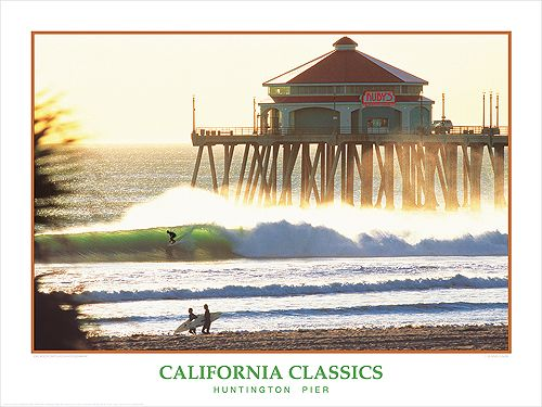 Huntington Beach Pier California Surf United States Travel Advertisement Poster