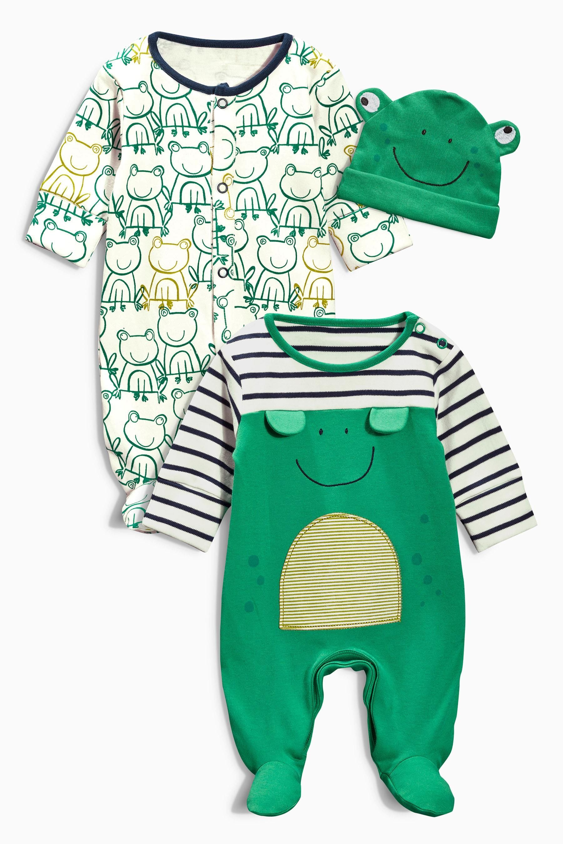 Buy Two Pack Frog Sleepsuits And Hat 0mths 2yrs from the Next UK