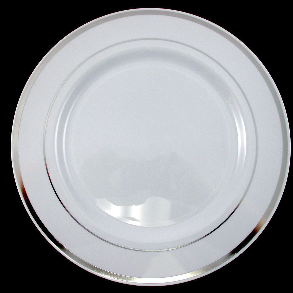 heavy weight plastic plates featuring an elegant silver border on a white background. Our White Premium Quality Plastic Plates with Silver Trim are classic.  sc 1 st  Pinterest & Wedding Party Disposable Plastic Dinnerware Plates round plates w ...