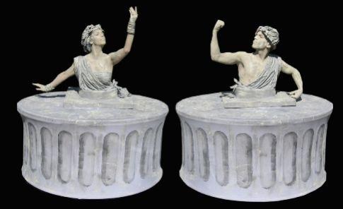 Greek Stone Pillar Human Tables