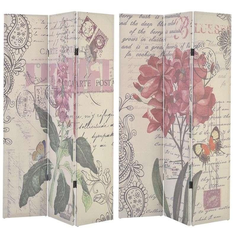 FABRIC PRINTED SCREEN W/PINK FLOWERS 120X2X180 (DOUBLE SIDE ) - inart