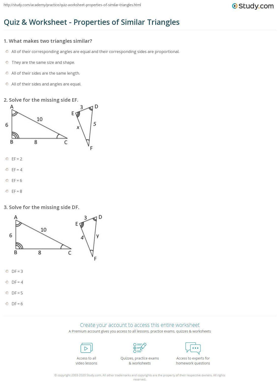 Similar Figures Worksheet Answer Key Quiz Worksheet Properties Of Similar Triangles In 2020 Triangle Worksheet Word Problem Worksheets Sight Word Worksheets