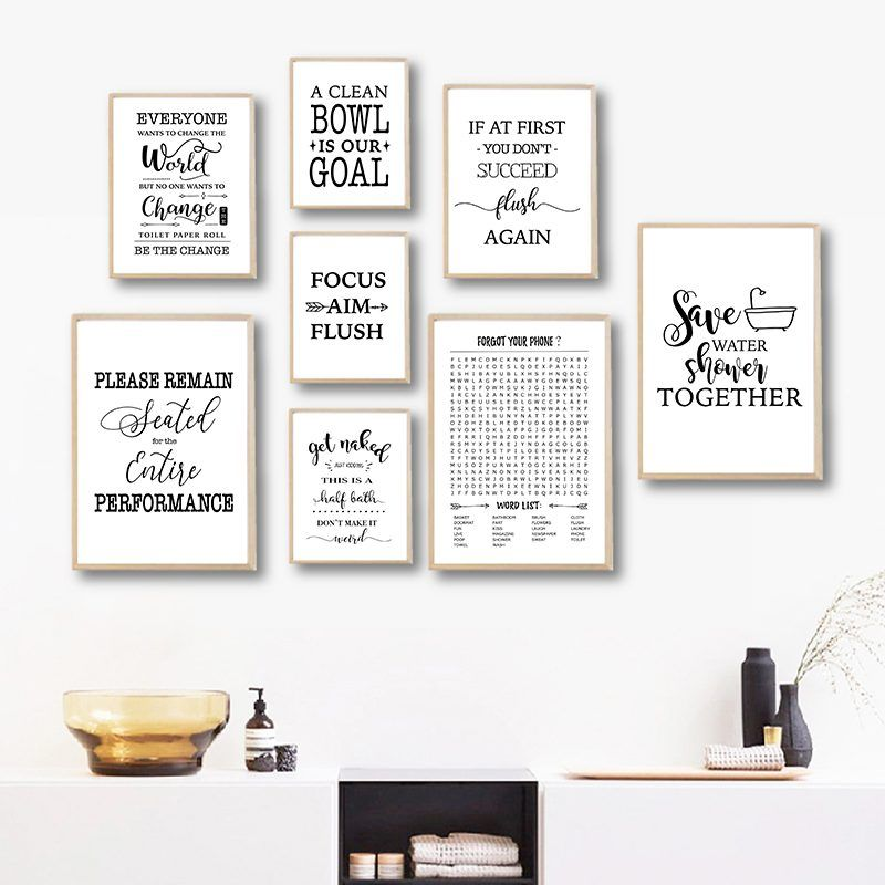 Canvas Painting Prints Bathroom Letter Quotes Poster Nordic Style Paintings Funny Bathroom Signs Picture Toilet Wall Art Decor Funny Bathroom Signs Canvas Art Wall Decor Wall Art Quotes