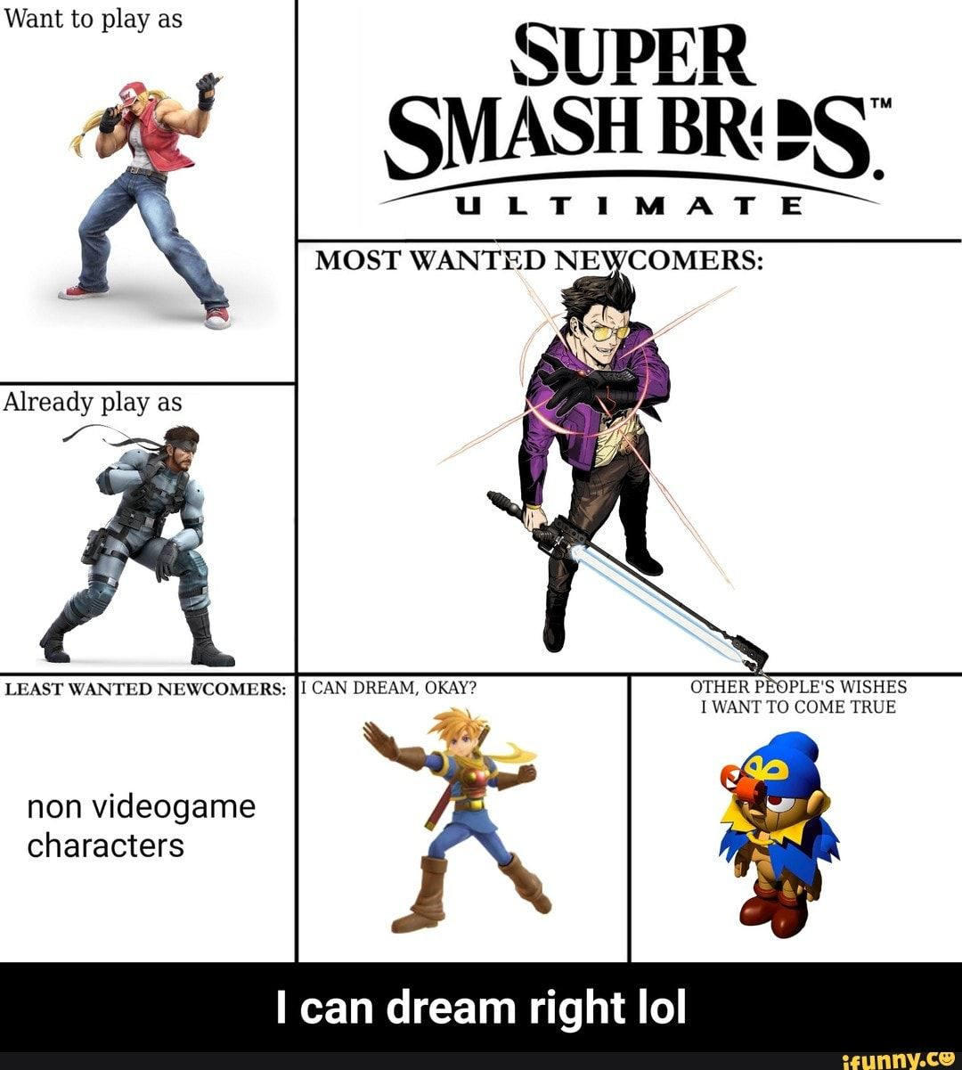 Want To Play As Super Smash Br Es Ultimate Most Wanted Ne Comers