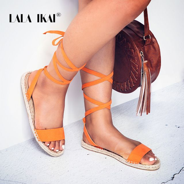 417a91f6ea7 LALA IKAI Espadrilles Fashion Sandals Flat Solid Rome Cross-Strap Women  Open Toe Sandales Femme Zapatos Mujer 014A1691 -49