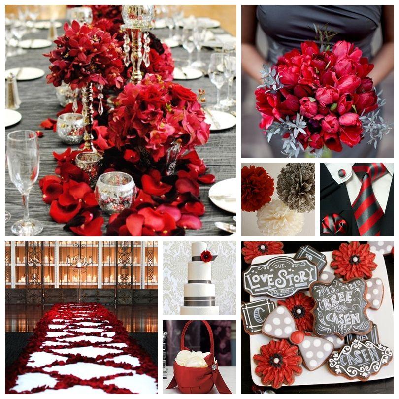 Scarlet Red and Slate Grey Wedding Inspiration Board | weddings ...