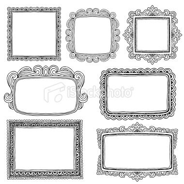 Set Of Seven Different Hand Drawn Frames Hi Res Jpeg Included Drawing Frames How To Draw Hands Doodle Frames