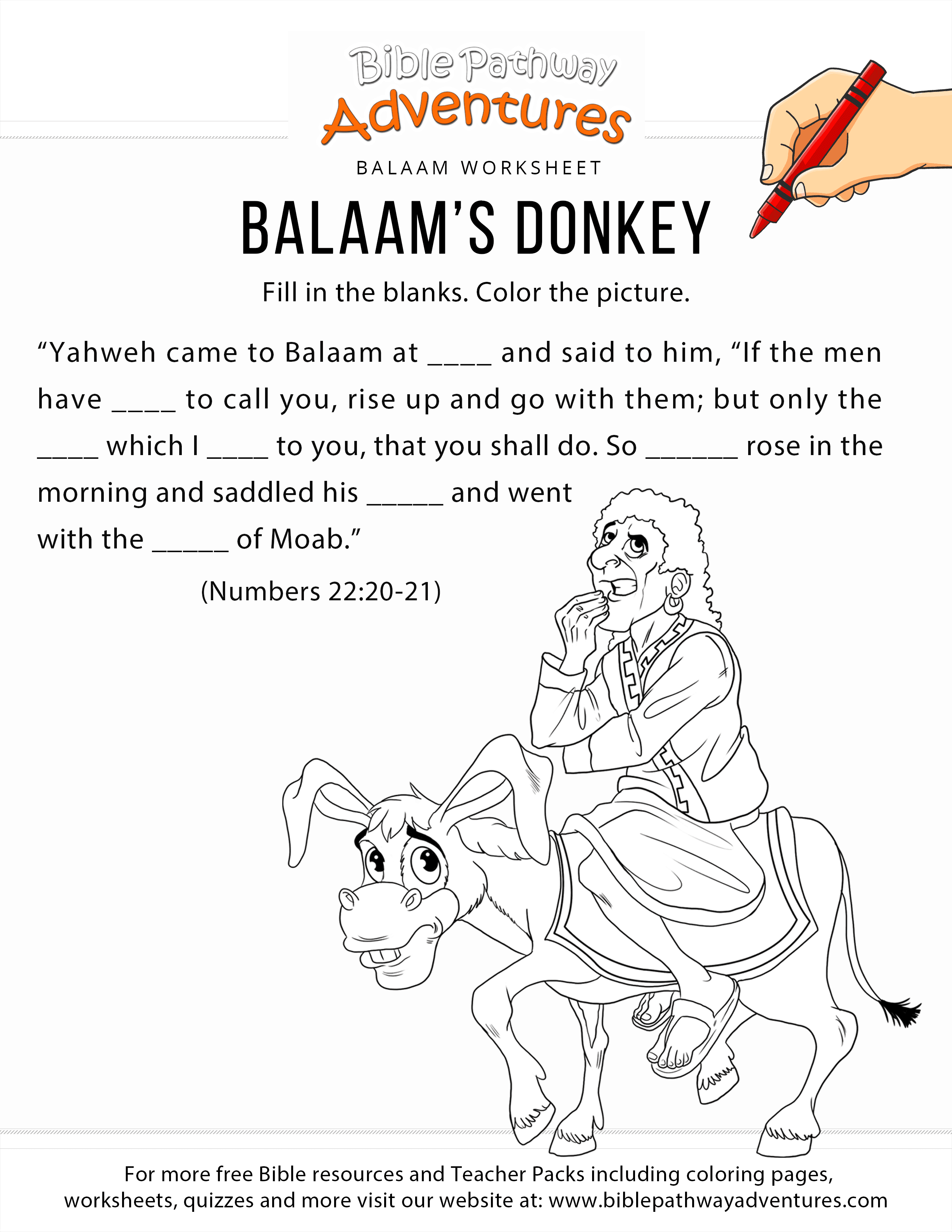 Balaam S Donkey Worksheet And Coloring Page