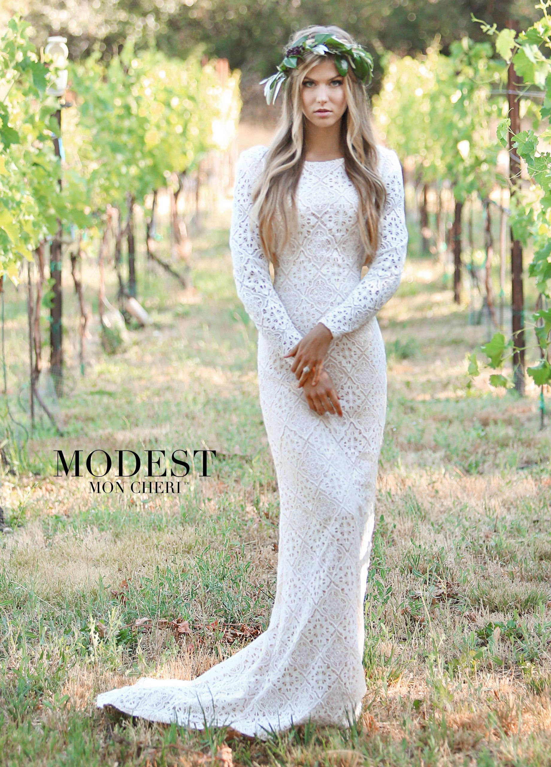 Conservative long sleeve high neck fitted wedding dress i have