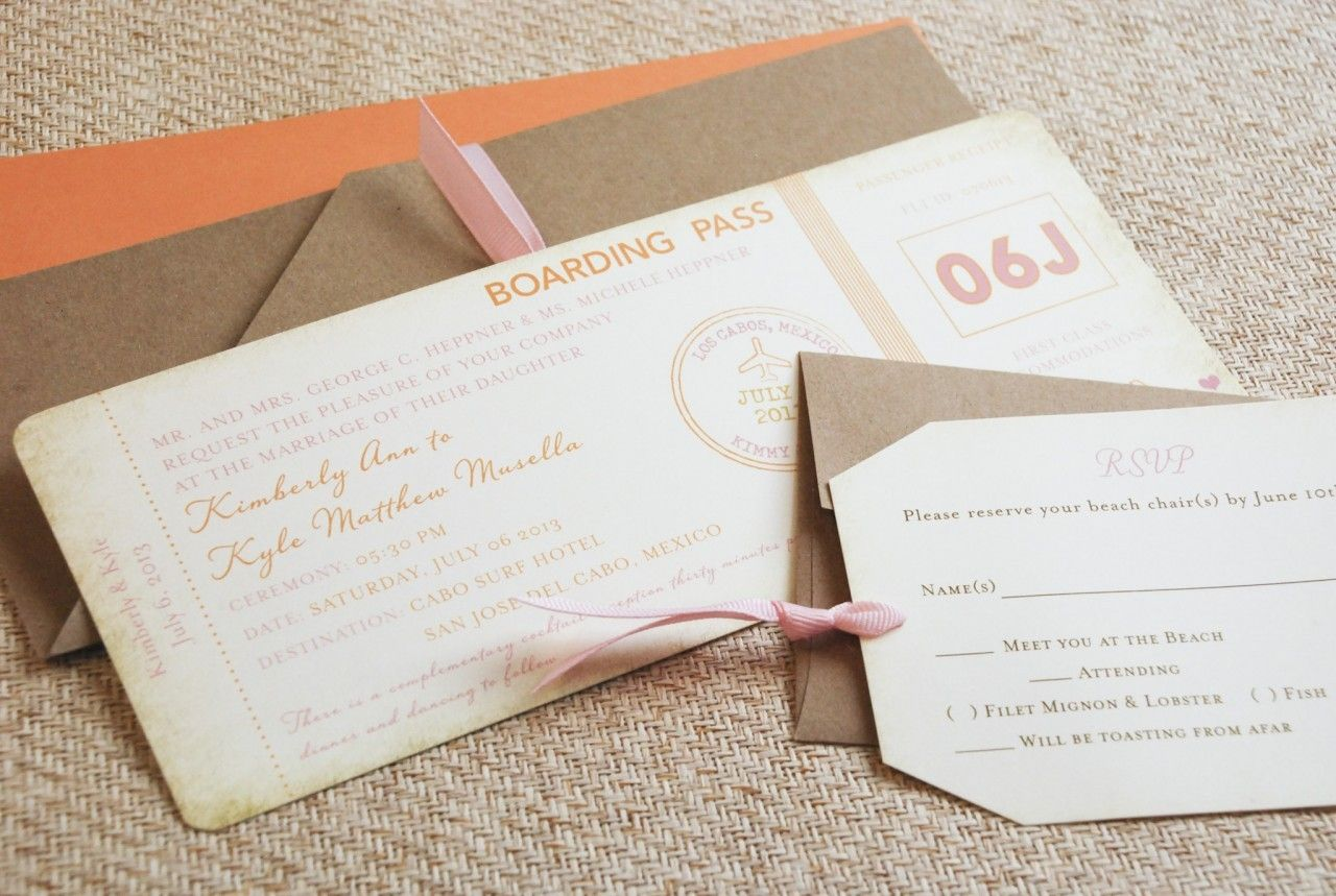 Vintage Travel Boarding Pass Wedding Invitation | Boarding pass ...