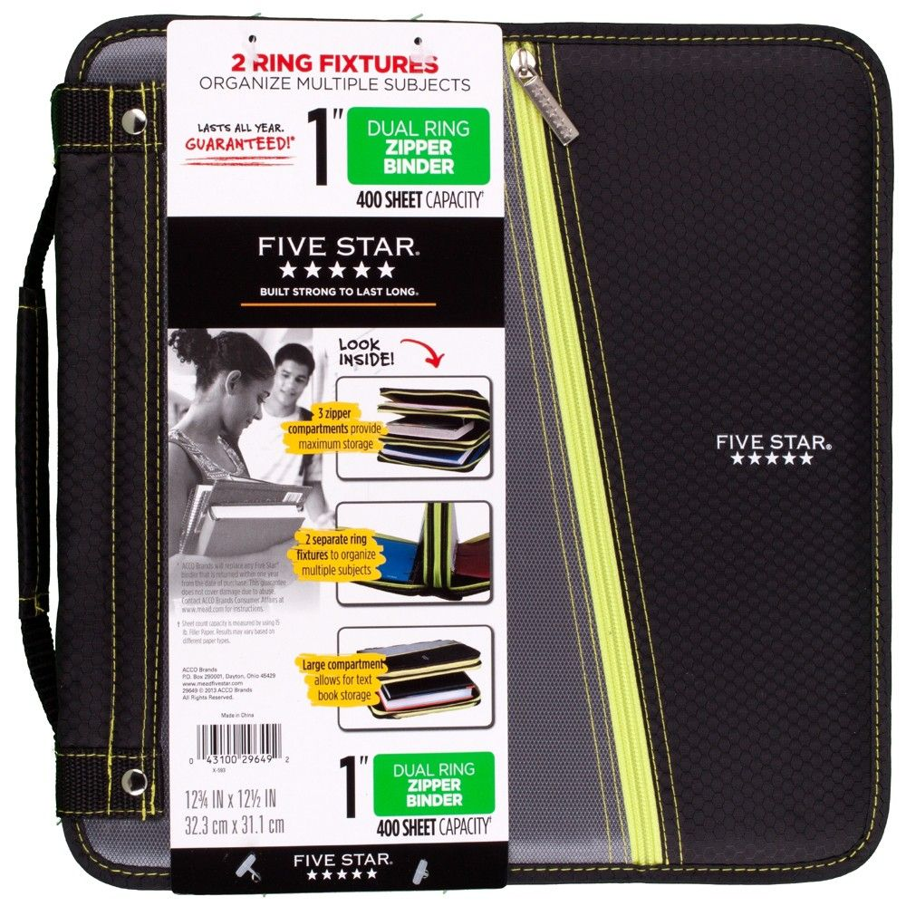 "Mead 1"" Ring Binder With Zipper Cover, 2 Pockets"