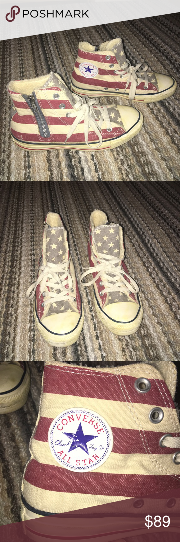 5afa730ed1b2 Distressed American Flag Converse High Top converses. Made to look  weathered or distressed. American flag pattern. Soft inside makes them  extremely ...