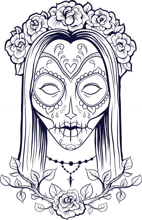 Sugar Skull Coloring Page 9 Sugar skulls Sugaring and Adult