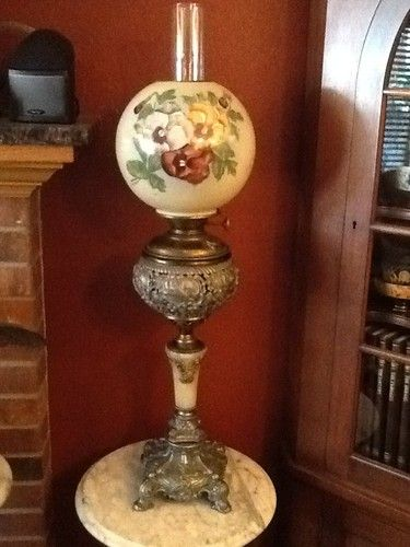 Antique Oil Victorian Banquet Lamp Lighting Brass Filigree 1800 S Hand Painted Antique Oil Lamps Banquet Lamp Vintage Hurricane Lamps