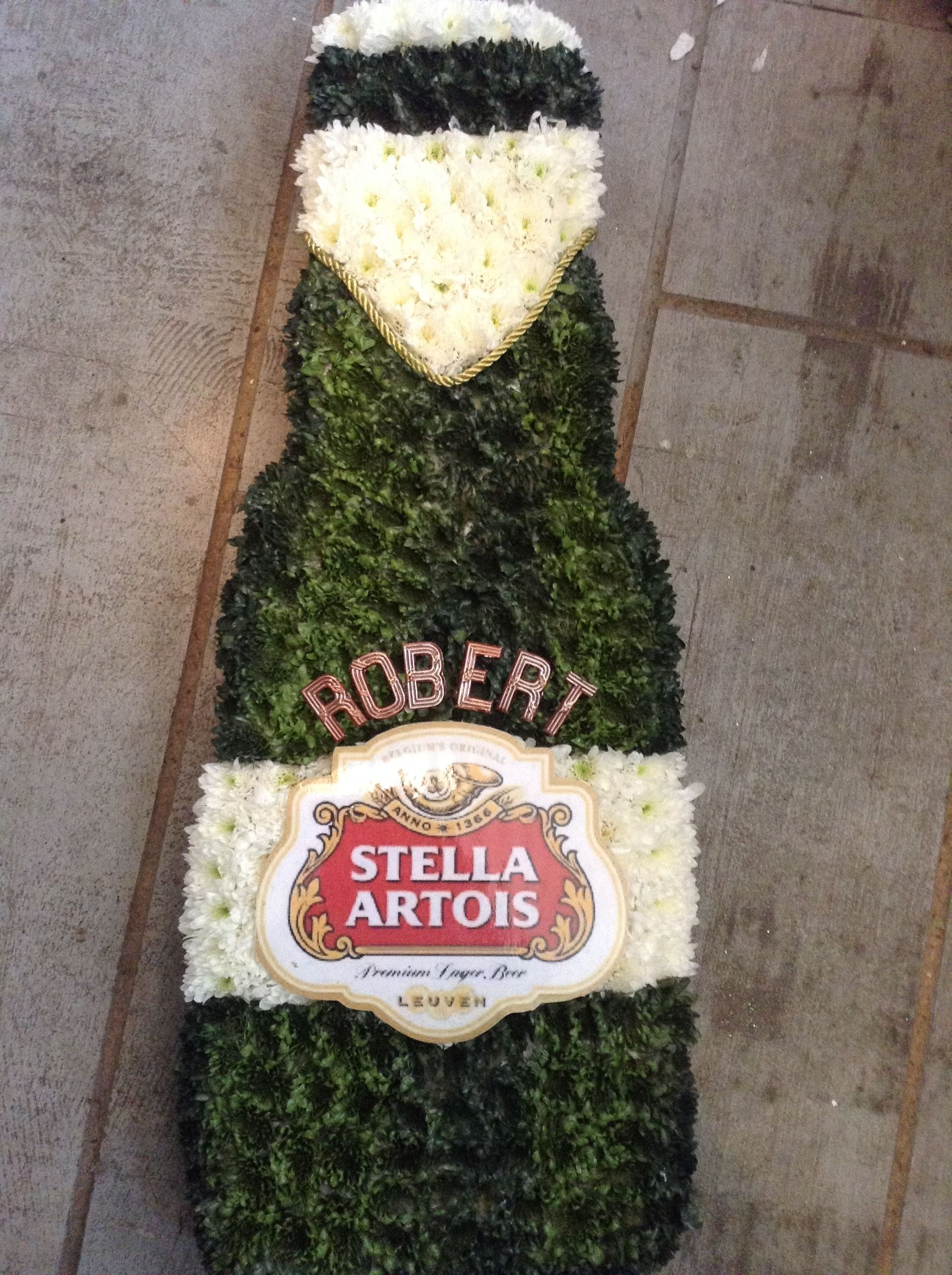 Funeral Flowers Beer Bottle Flower Tribute For A Funeral Www