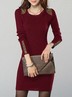 962983707e0 V neck Women Daily Casual Long Sleeve Cable Plain Dress