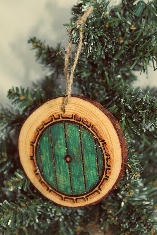 Christmas Ornament Wood Bauble Festive Log Slice Rustic Handmade Wood