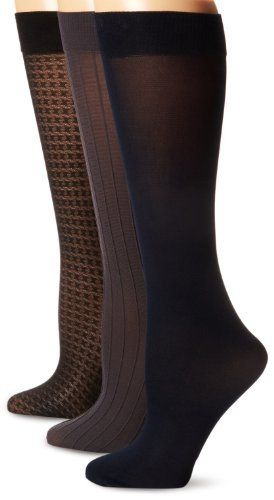 Anne Klein Women's 3 Pair Pack Houndstooth Trouser Socks, Black/Charcoal/Navy, One Size