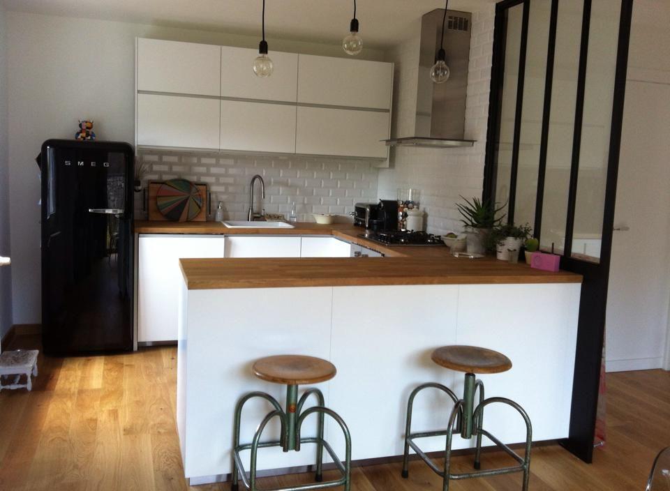 cuisine blanche et bois cuisine pinterest cuisine. Black Bedroom Furniture Sets. Home Design Ideas