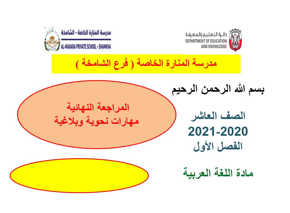 مراجعة نهاية مهارات نحوية وبلاغية الصف العاشر مادة اللغة العربية بوربوينت Pie Chart Knowledge Chart