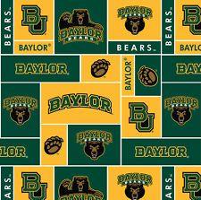 NCAA Baylor University Bears Block Fleece Fabric By the Yard
