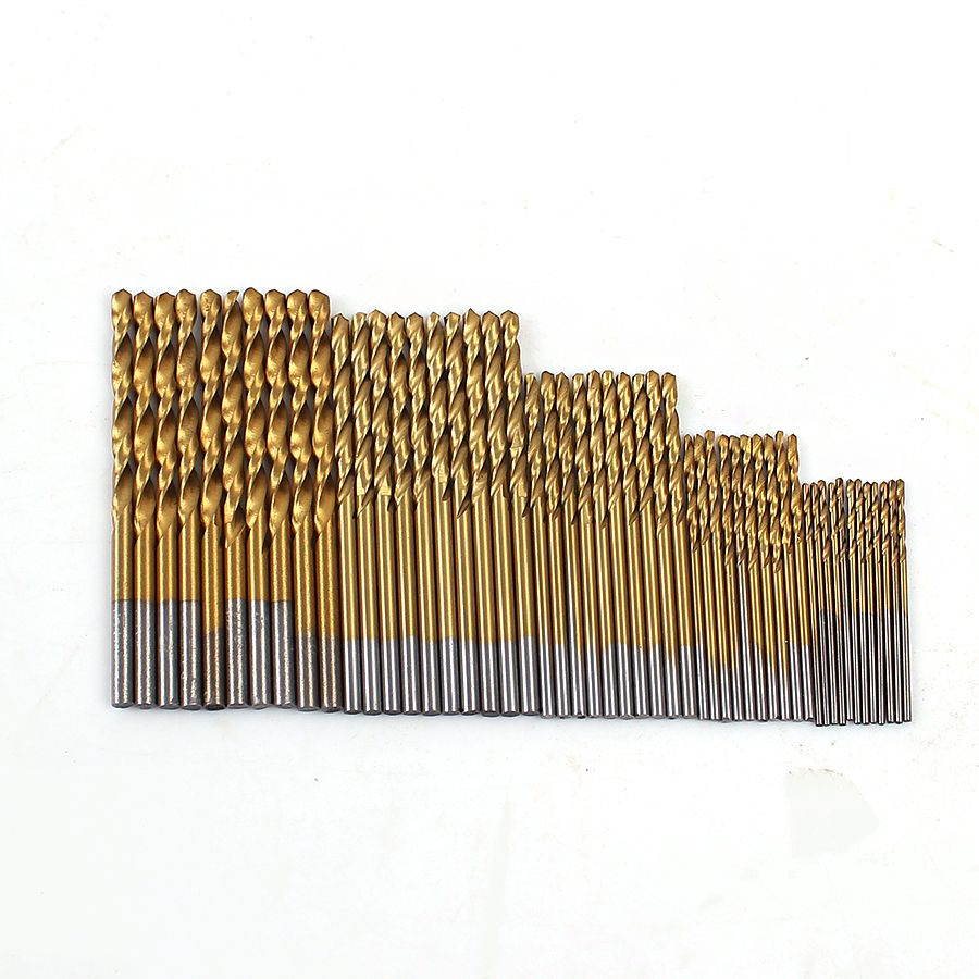 새로운 50 개/대 트위스트 드릴 비트 세트 설정 보았다 hss 높은 스틸 티타늄 코팅 드릴 목공 나무 도구 1/1. 5/2/2.5/3 미리메터 금속
