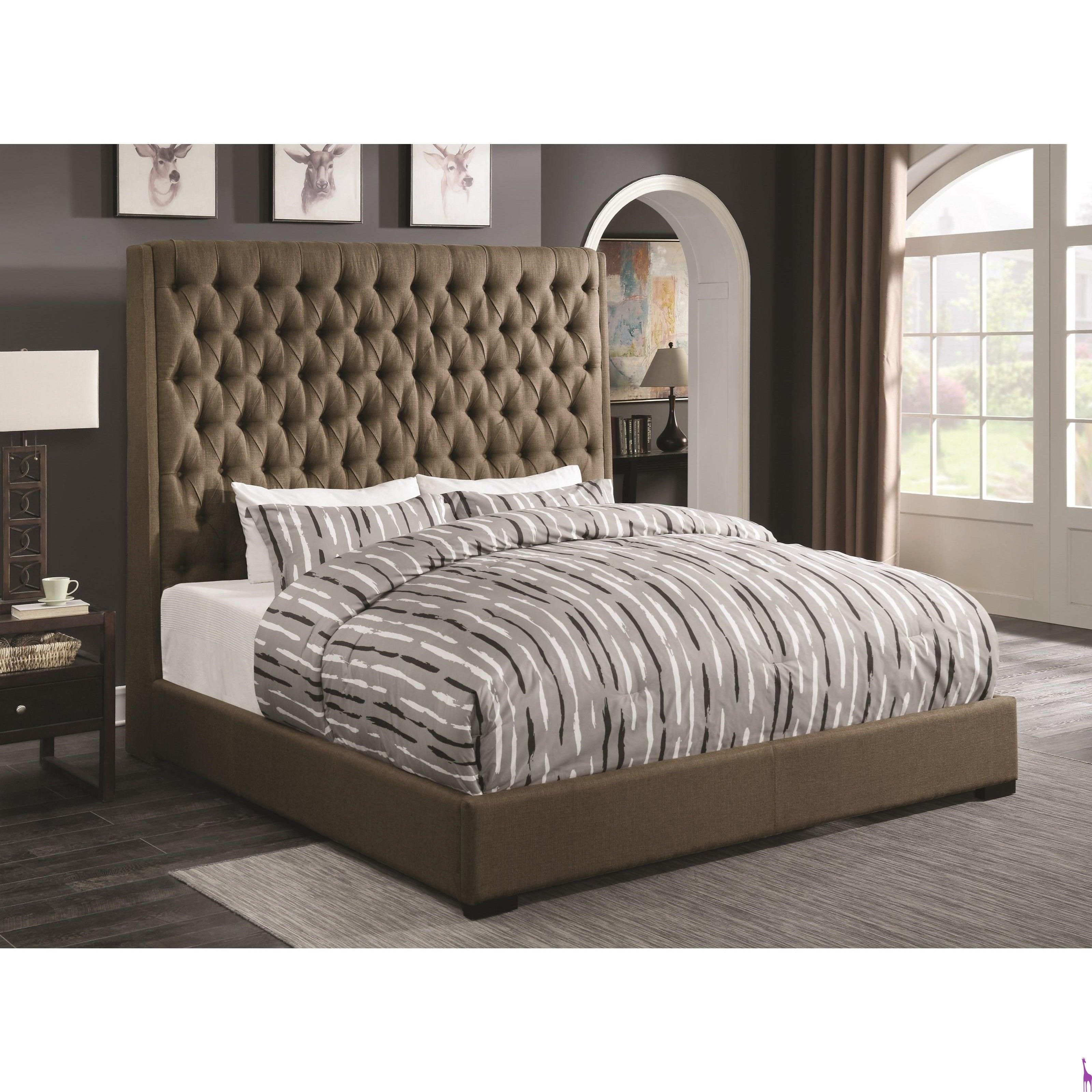 Best Camille Brown Upholstered Bed With Diamond Tufting 400 x 300