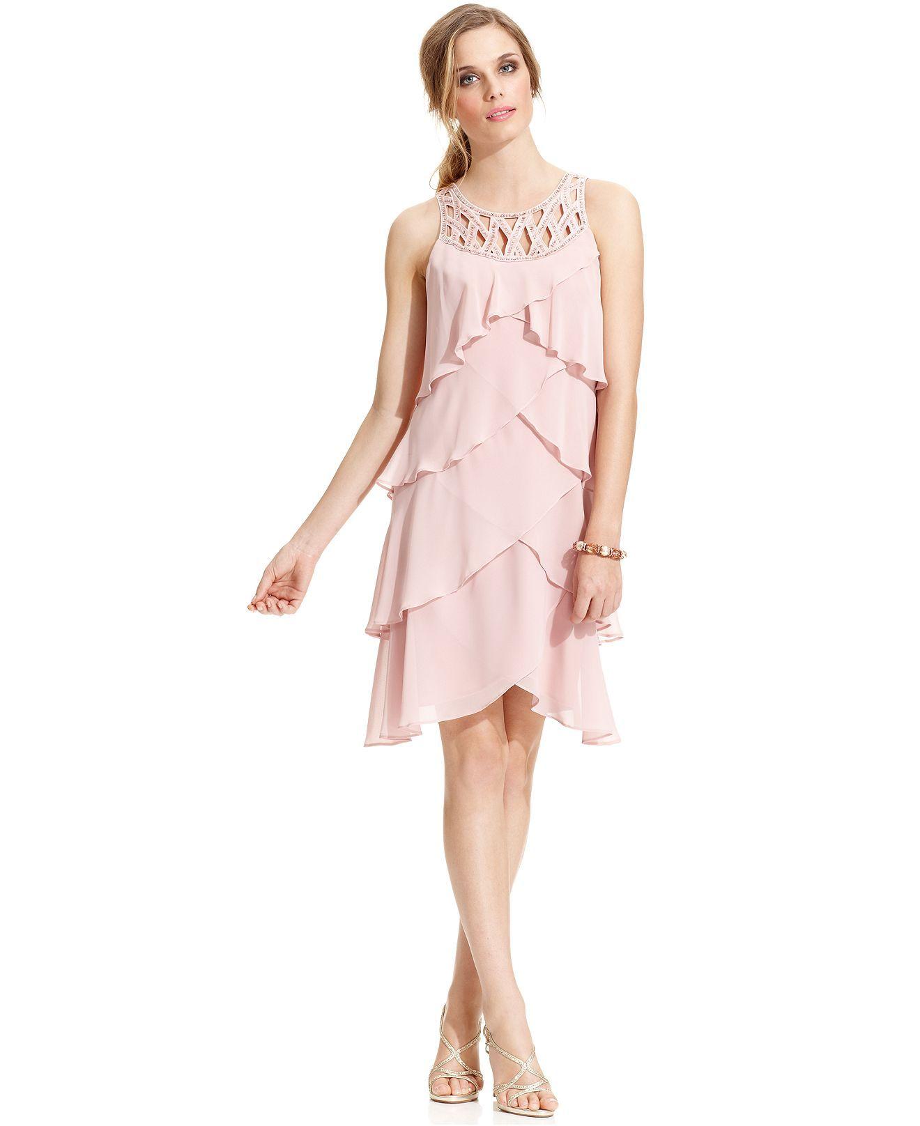 Sl sl fashion dresses - Sl Fashions Dress Sleeveless Petal Tiered Beaded Dresses Women Macy S