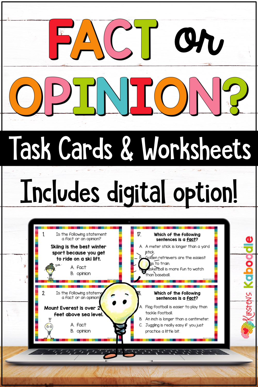 Fact and Opinion Anchor Chart and Task Cards Activities with Digital Option    Fact and opinion worksheet [ 1500 x 1000 Pixel ]